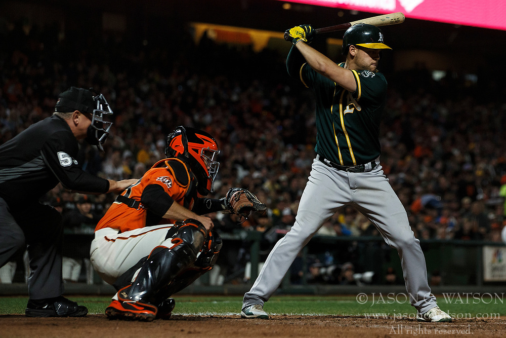 SAN FRANCISCO, CA - JULY 13: Chad Pinder #18 of the Oakland Athletics at bat against the San Francisco Giants during the seventh inning at AT&T Park on July 13, 2018 in San Francisco, California. The San Francisco Giants defeated the Oakland Athletics 7-1. (Photo by Jason O. Watson/Getty Images) *** Local Caption *** Chad Pinder