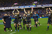 09.02.2013 Edinburgh, Scotland.    Scotland celebrate after the 12-8 win over Ireland in the RBS Six Nations Championship match between Scotland and Ireland, from Murrayfield Stadium.