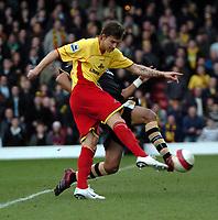 Photo: Tony Oudot.<br />Watford v Charlton Athletic. The Barclays Premiership. 03/03/2007.<br />Tamas Priskin of Watford fires in a shot