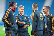 Dedryck Boyata, Thorgan Hazard and Eden Hazard of Belgium share a joke before the International Friendly match between Scotland and Belgium at Hampden Park, Glasgow, United Kingdom on 7 September 2018.