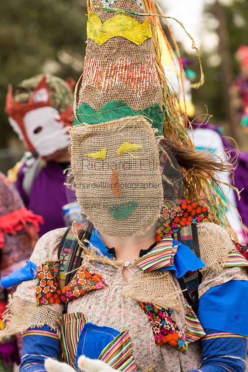 Cajun Mardi Gras reveler during the Faquetigue Courir de Mardi Gras chicken run on Fat Tuesday February 17, 2015 in Eunice, Louisiana. The traditional Cajun Mardi Gras involves costumed revelers competing to catch a live chicken as they move from house to house throughout the rural community.