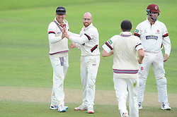 Jack Leach of Somerset celebrates with Tom Cooper as he bowls out Michael Carberry of Hampshire for LBW for 56    - Mandatory byline: Dougie Allward/JMP - 07966386802 - 11/09/2015 - Cricket - County Ground -Taunton,England - Somerset CCC v Hampshire CCC - LV=County Championship - Day 3
