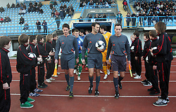 Referees Andrea Padovan, Gava Gabriele and Roberto Carrer before Friendly match between U-21 National teams of Slovenia and Romania, on February 11, 2009, in Nova Gorica, Slovenia. (Photo by Vid Ponikvar / Sportida)