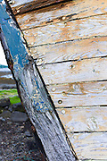 Close up of prow of old fishing boat at Salen Bay in Sound of Mull on Isle of Mull in the Inner Hebrides and Western Isles, Scotland