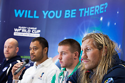 © Licensed to London News Pictures . 26/10/2012 . Salford , UK . L-R: Paul Jackson of Scotland , Tony Puletua of Somoa , Matty Hadden of Ireland and Eorl Crabtree of England . Press conference marking a one year countdown to the start of the 2013 Rugby League World Cup , which is being hosted by England and Wales . Photo credit : Joel Goodman/LNP