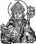 Thomas a Becket (1118-1170) English churchman, saint and martyr; Archbishop of Canterbury from 1162; murdered in Canterbury Cathedral. Woodcut from Hartmann Schedel 'Liber Chronicarum Mundi' (Nuremberg Chronicle) Nuremberg 1493.