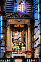 """""""Adoration of the Shepherds - Chapel of the Blessed Sacrament Duomo of Siena""""...<br /> <br /> Located at the corner between the right transept and the presbytery, in a position corresponding to the Chapel of Sant'Ansano, the Chapel of the Blessed Sacrament occupies this span. The altarpiece is a canvas depicting the Adoration of the Shepherds by Alessandro Casolani beginning in 1594. The Duomo in Siena lies in a piazza above the Piazza del Campo, a great Gothic building filled with treasures by Pisano, Donatello, Bernini, and Michelangelo as well as frescoes by Pinturicchio. Originally completed in 1263, the 14th century inspired an ambitious attempt to transform the cathedral into the largest temple in all of Christendom, which would dwarf even St. Peter's in Rome. The already-large Duomo would form just the transept of this huge cathedral. In 1348, the Black Death swept through the city and killed 4/5 of Siena's population. The giant cathedral was never completed, and the half-finished walls of the New Cathedral survive as a monument to Siena's ambition and one-time wealth. The magnificent complex of the Cathedral of Siena houses a series of some of the most important monuments of the European artistic panorama. If I was asked to choose only one place that represented the great history of art, architecture, culture, and faith in all of Italy…one would be hard-pressed to find a more complete portfolio than the Cathedral of Siena. I found myself awe-inspired just walking up and facing the elegant façade, striped walls and pillars, and massive size. Upon entering the nave, one is overwhelmed with a plethora of artistic expression and great beauty placed in every available space. From its dome, stained glass, frescos, sculptures, and to what is said to be the most magnificent marble floor in history…it is worth every minute."""