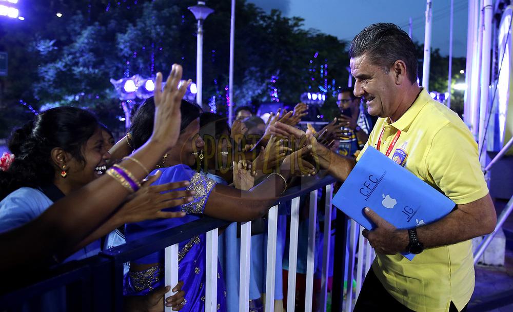 Chennaiyin FC Head Coach John Gregory  meets the Dazzlingstone Orphanage Kids during match 27 of the Hero Indian Super League 2018 ( ISL ) between Chennaiyin FC  and Mumbai City FC  held at the Jawaharlal Nehru Stadium, Chennai, India on the 3rd November 2018<br /> <br /> Photo by: Sandeep Shetty /SPORTZPICS for ISL