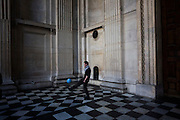 Activist plays football at St Paul's entrance on the 11th day of the Occupy London protest camp in St Paul's cathedral churchyard, London 26/11/11. City lawyers are using medieval pedestrian bylaws to gain a court injunction to evict the activists who set up tents and shelters as in other countries.
