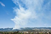 Santa Barbara, California - Aprox 30 mins after report of fire, smoke of Jesusita fire rises into sky. Tuesday May 5, 2009 2:15pm