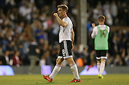 Scott Parker, the Fulham captain celebrates after the final whistle towards the Fulham fans. Skybet EFL championship match, Fulham v Newcastle Utd at Craven Cottage in Fulham, London on Friday 5th August 2016.<br /> pic by John Patrick Fletcher, Andrew Orchard sports photography.