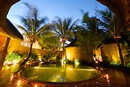Mauritius Island. Pool spa with palm trees at Hotel Resort Casuarina