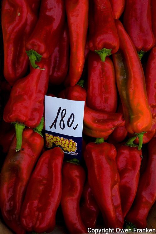 Red peppers at Market day in San Clemente, the the Campania region near Naples, Italy