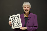 Garden City, New York, U.S. November 14, 2019. MICHELE MASON, of Manhattan, holds Apollo 10 Commander Lt. Gen. Thomas Stafford's 1962 NASA class photo she brought to show him at the 17th Annual Cradle of Aviation Museum Air and Space Gala. When he was inducted to NASA class of 1962 astronauts, Mason wrote to Stafford, who sent her his photo.
