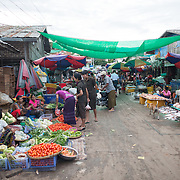 A street that makes up part of the fish and flower market in Mandalay, Myanmar (Burma).
