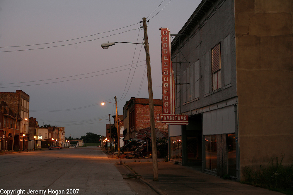 Collapsing and decaying buildings line Commercial avenue in downtown Cairo, Illinois, a city in decline for decades at the confluence of the Ohio and Mississippi rivers.