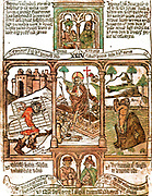 The Biblia pauperum ('Paupers' Bible') was a picture Bible to portray the books of the Bible visually. Unlike a simple 'illustrated Bible', where the pictures are subordinated to the text, these Bibles placed the illustration in the centre, with only a brief text or no text at all.