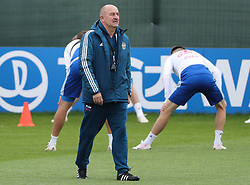 MOSCOW, July 4, 2018  Russia's head coach Stanislav Cherchesov (front) attends a training session in Moscow, Russia, on July 4, 2018. Russia will face Croatia in a quarter-final match of the 2018 FIFA World Cup on July 7. (Credit Image: © Bai Xueqi/Xinhua via ZUMA Wire)