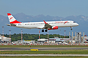 OE-LWC Austrian Airlines Embraer ERJ-195 (Embraer 190-195) at Malpensa (MXP / LIMC), Milan, Italy