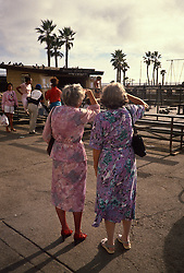 Backs of two elderly women looking at Muscle Beach in Venice, CA