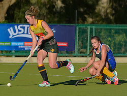 Griet van Jaarsveld of Bloemhof and Caela Venter of Eunice during day one of the FNB Private Wealth Super 12 Hockey Tournament held at Oranje Meisieskool in Bloemfontein, South Africa on the 6th August 2016<br /> <br /> Photo by:   Frikkie Kapp / Real Time Images