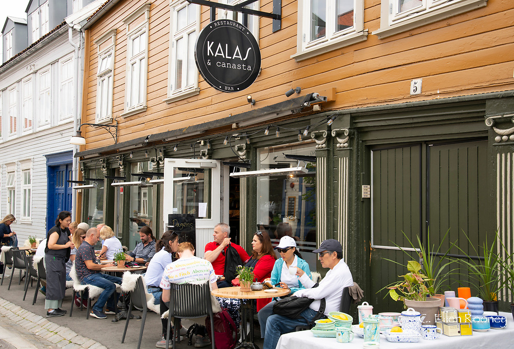 An outdoor cafe in the Mollenberg district of Tronheim, Trondelag, Norway