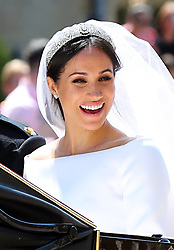 Meghan Markle leaves St George's Chapel at Windsor Castle after her wedding to Prince Harry.