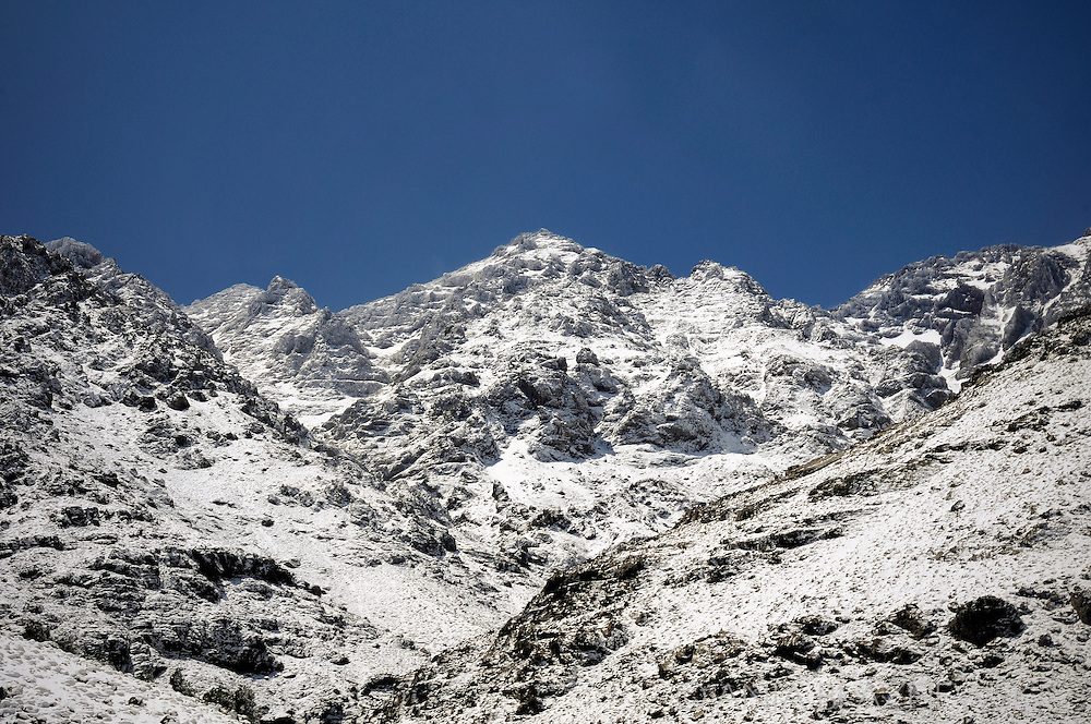 Morocco. High Atlas Mountains covered with snow in May.