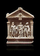 End of Roman relief sculpted Herakles (Hercules)  sarcophagus, 2nd century AD, Perge, inv 2017/400. Antalya Archaeology Museum, Turkey. Against a black background..<br /> <br /> If you prefer to buy from our ALAMY STOCK LIBRARY page at https://www.alamy.com/portfolio/paul-williams-funkystock/greco-roman-sculptures.html . Type -    Antalya    - into LOWER SEARCH WITHIN GALLERY box - Refine search by adding a subject, place, background colour, etc.<br /> <br /> Visit our ROMAN WORLD PHOTO COLLECTIONS for more photos to download or buy as wall art prints https://funkystock.photoshelter.com/gallery-collection/The-Romans-Art-Artefacts-Antiquities-Historic-Sites-Pictures-Images/C0000r2uLJJo9_s0