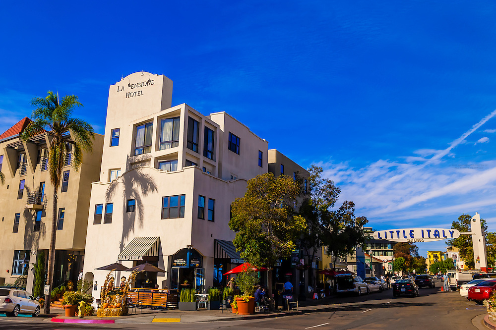 La Ensione Hotel, India Street, Little Italy, San Diego, California USA.