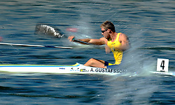 ANDERS GUSTAFSSON (SWEDEN) COMPETES IN MEN'S K1 RELAY 200 METERS QUALIFICATION RACE DURING 2010 ICF KAYAK SPRINT WORLD CHAMPIONSHIPS ON MALTA LAKE IN POZNAN, POLAND...POLAND , POZNAN , AUGUST 22, 2010..( PHOTO BY ADAM NURKIEWICZ / MEDIASPORT ).