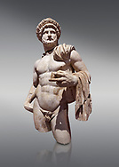 Roman statue of Emperor Hadrian .Marble. Perge. 2nd century AD. Inv no 3861-3863 .Antalya Archaeology Museum; Turkey. .<br /> <br /> If you prefer to buy from our ALAMY STOCK LIBRARY page at https://www.alamy.com/portfolio/paul-williams-funkystock/greco-roman-sculptures.html . Type -    Antalya     - into LOWER SEARCH WITHIN GALLERY box - Refine search by adding a subject, place, background colour, museum etc.<br /> <br /> Visit our ROMAN WORLD PHOTO COLLECTIONS for more photos to download or buy as wall art prints https://funkystock.photoshelter.com/gallery-collection/The-Romans-Art-Artefacts-Antiquities-Historic-Sites-Pictures-Images/C0000r2uLJJo9_s0