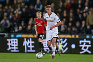 Sam Clucas of Swansea City in action. EFL Carabao Cup 4th round match, Swansea city v Manchester Utd at the Liberty Stadium in Swansea, South Wales on Tuesday 24th October 2017.<br /> pic by  Andrew Orchard, Andrew Orchard sports photography.