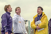 Putney. London.  2004 University Boat Race,  Championships Course, Putney to Mortlake. <br /> Re enactment row, Cambridge and Oxford . The Toss overseen by umpire  John  GARRETT. [Mandatory Credit Peter SPURRIER]
