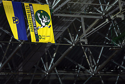 Flags of Celje and RK Celje PL at handball match RK Celje Pivovarna Lasko vs FC Barcelona (ESP) 4th group of EHF Champions league Men, on March 1, 2008 in Celje, Slovenia. Win of Barcelona 27:32. (Photo by Vid Ponikvar / Sportal Images)