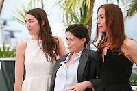 Zoe Bruneau Heloise Godet and Jessica Erickson at the photo call for the film  Goodbye to Language (Adieu au langage) at the 67th Cannes Film Festival, Wednesday 21st  May 2014, Cannes, France.