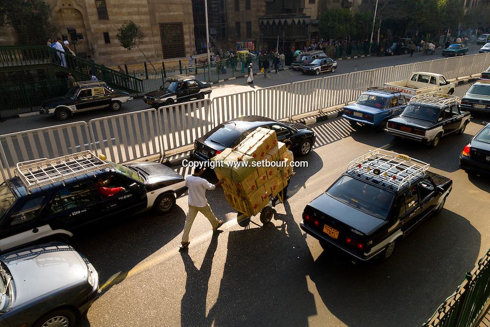 Egypt . Cairo : Al azhar street and expressway , Al Hussein mosque and al Azhar area in islamic Cairo