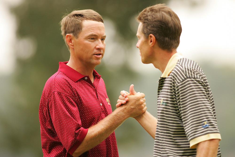Davis Love III<br />2005 Presidents Cup Matches<br />Sunday Singles Matches<br />Robert Trent Jones GC<br />Gainesville VA<br />Sunday, September 25,  2005<br />09-25-05<br />photograph by Darren Carroll