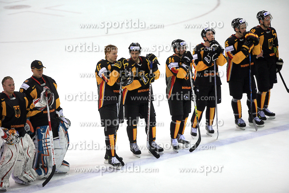 German Team after ice-hockey match Germany vs Norway (they have old replika jerseys from year 1966) at Preliminary Round (group C) of IIHF WC 2008 in Halifax, on May 07, 2008 in Metro Center, Halifax,Nova Scotia, Canada. Norway won 3:2. (Photo by Vid Ponikvar / Sportal Images)