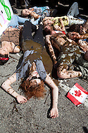 May 17, 2012 in Chicago, Illinois, Holly McKee, from Nashville plays dead in the street with a substance meant to look like oil on her that is chocolate based, taking part in a 'Get Dirty' rally in front of the Canadian Consulate protesting against the Alberta Tar Sands and environmentally destructive agendas of the G8 and NATO. The protesters are affiliated with Occupy Chicago and are participating  in protests taking place on the forth day  in what is expected to be a full week of demonstrations as the city prepares to host the NATO Summit May 20-21.