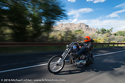 Bill Buckingham riding his 1923 Harley-Davidson J model custom chopper (that won top honors at Born Free 6) on Interstate-70 near Grand Junction, Colorado during Stage 10 (278 miles) of the Motorcycle Cannonball Cross-Country Endurance Run, which on this day ran from Golden to Grand Junction, CO., USA. Monday, September 15, 2014.  Photography ©2014 Michael Lichter.THIS IMAGE IS ONLY AVAILABLE AS  LIMITED EDITION PRINT. TO ORDER A PRINT, GO TO THE LIMITED EDITION SECTION. The title of this limited edition image is - Coast-to-coast on a '36 Knuckle. Outside Grand Junction, CO. 2014