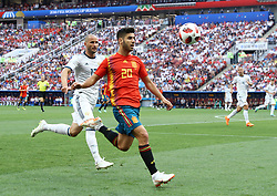 July 1, 2018 - Moscow, Russia - Round of 16 Russia v Spain - FIFA World Cup Russia 2018.Fedor Kudriashov (Russia) and Marcos Asensio (Spain)  at Luzhniki Stadium in Moscow, Russia on July 1, 2018. (Credit Image: © Matteo Ciambelli/NurPhoto via ZUMA Press)