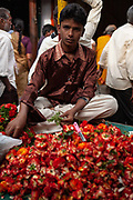 A young man selling produce in a market on 27th December 2009 in Mysore, Karnataka, India. .
