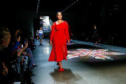 Prabal Gurung show, Runway, Fall Winter 2018, New York Fashion Week Model on the catwalk- Ashely Graham - Gigi Hadid and Bella Hadid-Romee Strijd. 11 Feb 2018 Pictured: Ashely-Graham. Photo credit: Newspictures/ MEGA TheMegaAgency.com +1 888 505 6342