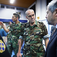 Nederland, Doorn , 26 septembre 2013.<br /> Veteranendag op militaire basis in Doorn.<br /> Karl Marlantes (r), Vietnam veteraan en schrijver ontmoet Nederlandse veteranen van de oorlog in Afghanistan. <br /> Veterans day at militairy base in Doorn.<br /> KarlMarlantes Vietnam veteran and writer meets veterans de la guerre d'Afghanistan.<br /> Karl Marlantes right (born December 24, 1944) is an American author, businessman, and decorated Marine veteran.<br /> He is the author of Matterhorn: A Novel of the Vietnam War<br /> <br /> Foto:Jean-Pierre Jans