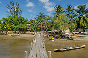 A makeshift wood harbour in The Sapinho Island, Barra Grande Bay, Maraú Peninsula, in the brazilian state of Bahia. The Sapinho Island hosts some restaurants where is served homemade style food from Bahia, known by its variety of local seafood. Diego Murray / 4See