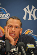 Shortly after the announcement of his suspension from baseball, Alex Rodriguez fields questions during a post game press conference after a rehab assignment in Trenton, NJ, Saturday, August 2, 2013.