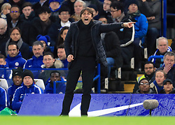 Chelsea manager Antonio Conte gestures on the touchline during the Carabao Cup Semi Final, First Leg match at Stamford Bridge, London.