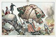Stop Your Cruel Oppression of the Jews', 1904. Emil Flohri (1869-1938) American artist. Theodore Roosevelt admonishing Tsar Nicholas II over treatment  of Russian Jews. Anti-Semitism Pogrom Refugee  Persecution Misery