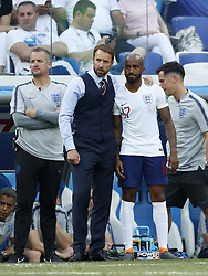 (L-R) coach Gareth Southgate of England, Fabian Delph of England, during the 2018 FIFA World Cup Russia group G match between England and Panama at the Nizhny Novgorod stadium on June 24, 2018 in Nizhny Novgorod, Russia